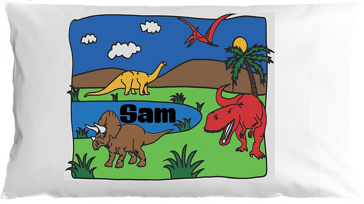 Dinosaurs w/Custom Name Standard Pillowcase