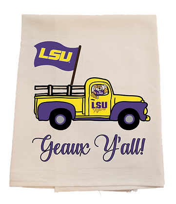 LSU Flag Truck Tea Towel