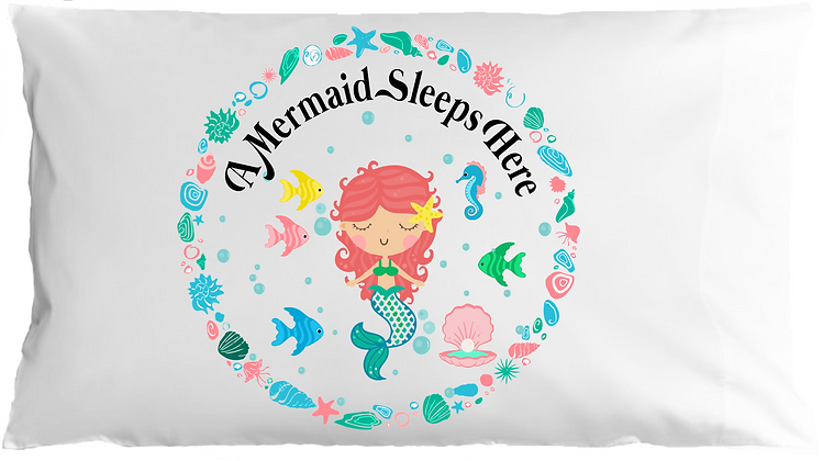 Mermaid Bubbly Standard Pillowcase w/Custom Name