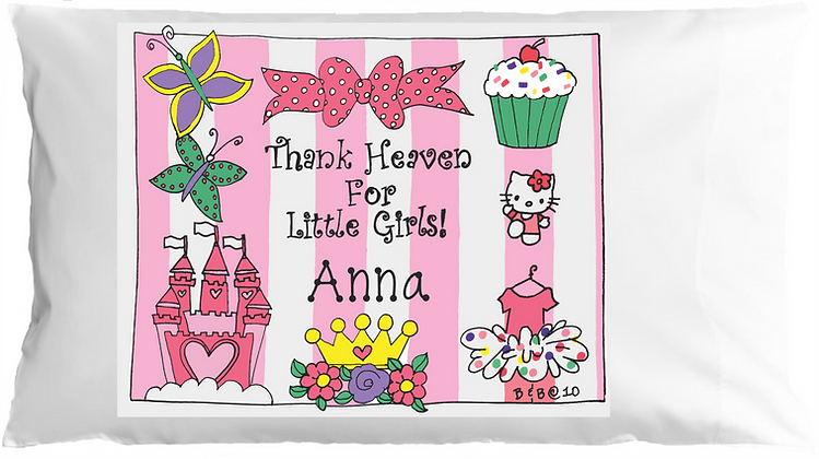 Thank Heaven For Little Girls w/Custom Name Standard Pillowcase