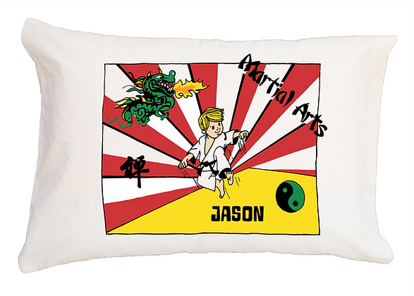 Martial Arts w/Custom Name Standard Pillowcase