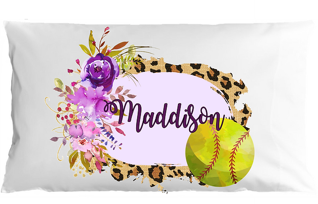 Watercolor Softball w/Custom Name Standard Pillowcase