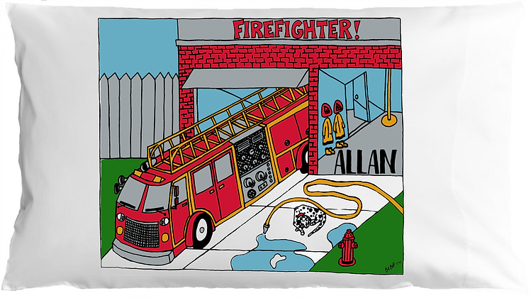 Firetruck w/Custom Name Standard Pillowcase