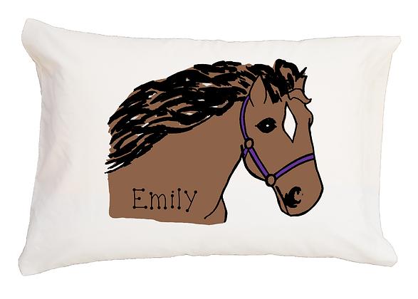 Horse Bridle w/Custom Name Standard Pillowcase