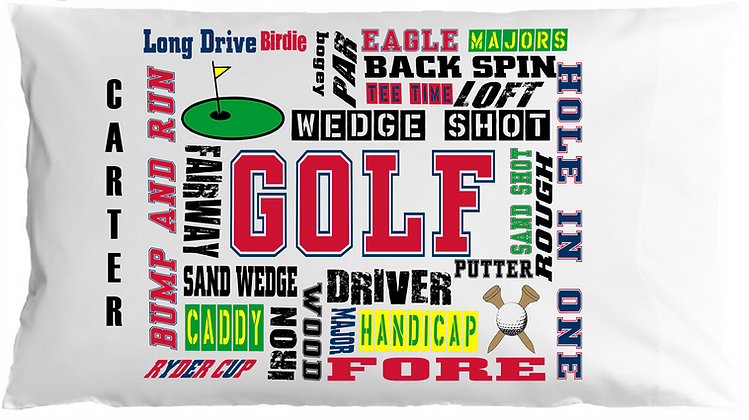 Golf Sports Chatter w/Custom Name Pillowcase