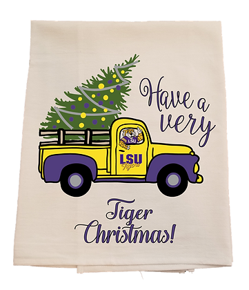 LSU Christmas Truck Tea Towel