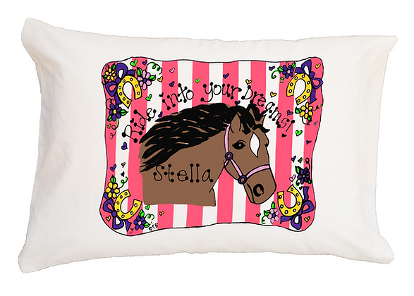 Ride into your Dreams Stripes w/Custom Name Standard Pillowcase