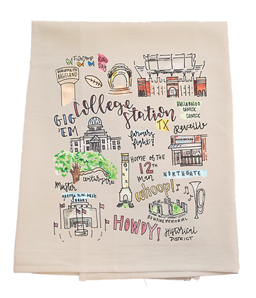 College Station City Tea Towel