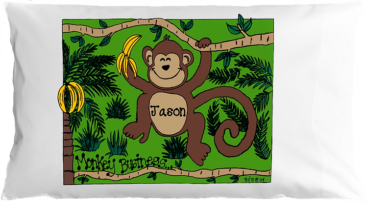 Monkey Business w/Custom Name Toddler Pillow