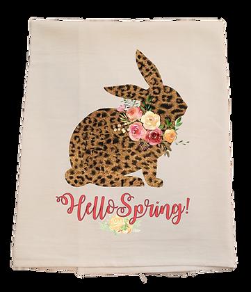 Spring Leopard Print Bunny Tea Towel