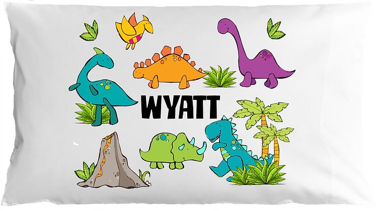 Dino Party w/Custom Name Standard Pillowcase