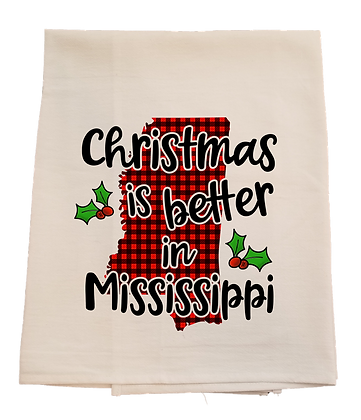 Christmas in Mississippi Tea Towel