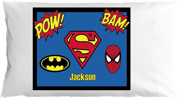 Superhero w/Custom Name Standard Pillowcase