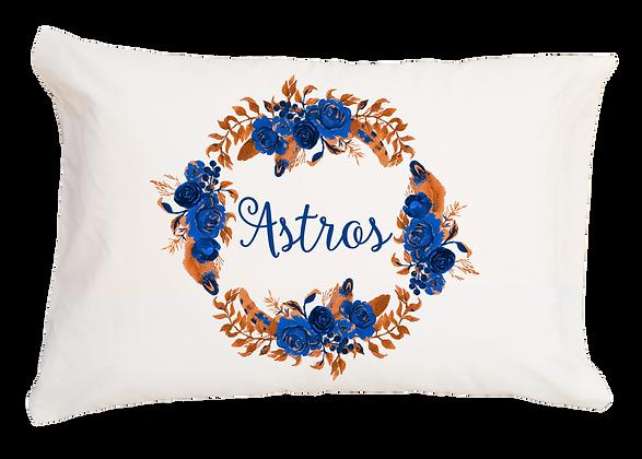 Astros Floral Wreath Standard Pillowcase
