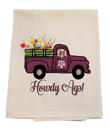 Texas A&M Spring Truck Tea Towel