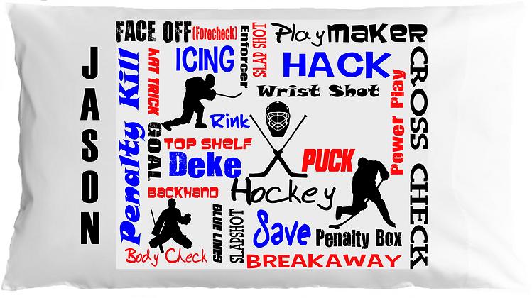 Hockey Sports Chatter w/Custom Name Standard Pillowcase