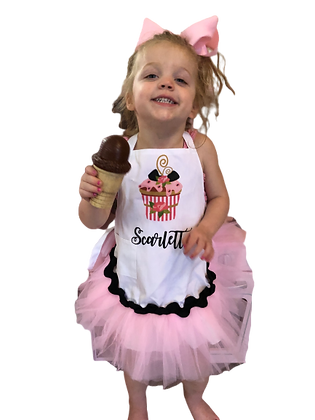 Pink Cupcake Tutu Customized Apron