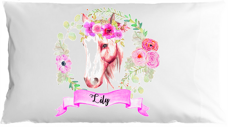 Watercolor Horse w/Custom Name Travel Pillow
