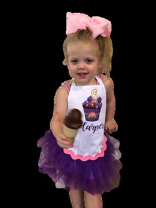 Purple Cupcake Tutu Customized Apron