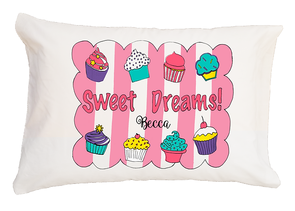 Sweet Dreams Cupcake w/Custom Name Travel Pillow