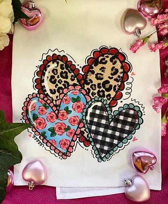 Leopard Heart Trio Tea Towel