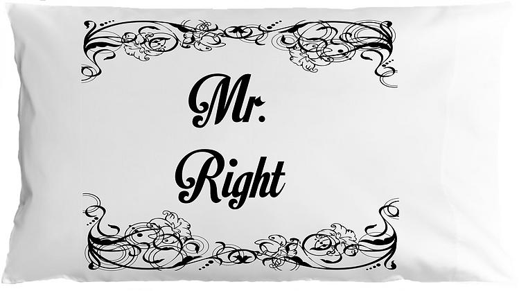 Mr. & Mrs. Right w/Custom Name Standard Pillowcases
