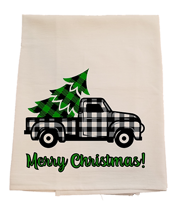 Merry Christmas Black/White Plaid Truck Tea Towel