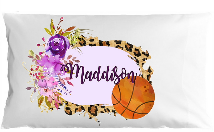 Watercolor Basketball w/Custom Name Standard Pillowcase