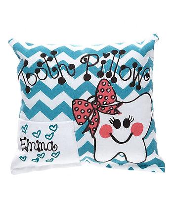 Teal Girls Chevron Tooth Pillow