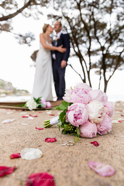 Rings & Bouquet on ground
