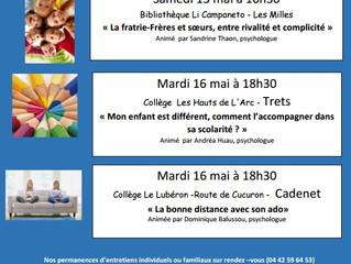 Les rendez-vous de mai de l'Ecole des Parents et des Educateurs  d'Aix et du Pays d'Aix