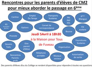 Rencontres pour les parents d'élèves de CM2 pour mieux aborder le passage en 6ème