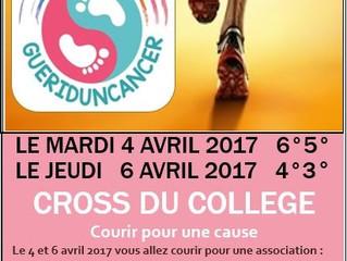 Le cross du collège aura lieu les 4 et 6 avril 2017