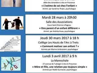 Les prochains rendez-vous de l'Ecole des Parents et des Educateurs  d'Aix et du Pays d'Aix