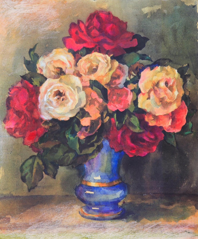 4 Trandafiri in vasa albastru.jpg