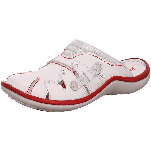 Krisbut Polen Damen Schuhe Clog Sabot Slipper Pantolette 2220-6-1 weiß Leder