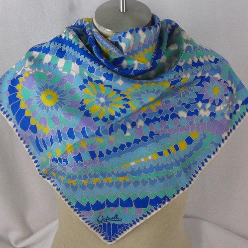 Vintage Ostinelli Silk Scarf Blue Floral Paisley Mosaic Pattern
