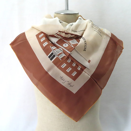 Vintage Tammis Keefe Scarf Greenfield Village Brown Silk