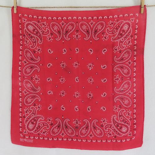 Vintage red paisley bandana with trunk up Elephant brand logo