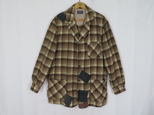 Vintage Mens Pendleton 49er Jacket XL VISIBLE MEND Patched Brown Plaid Wool