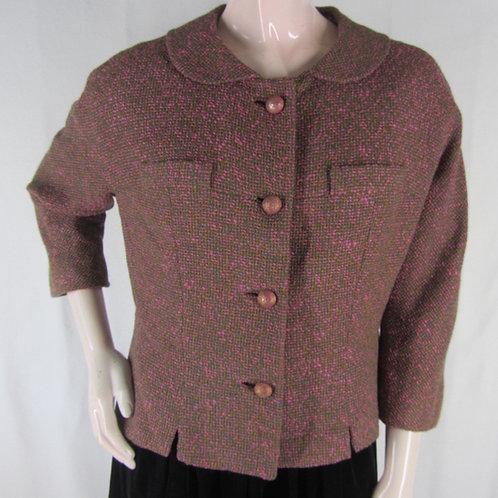 Vintage pink and green tweed boxy wool jacket