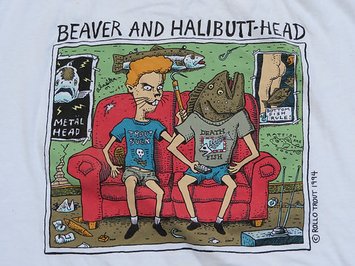 Vintage 90s Beaver Halibutt-Head Tee Beavis Butthead Spoof T-shirt