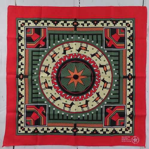 Red and green southwest print bandana handkerchief