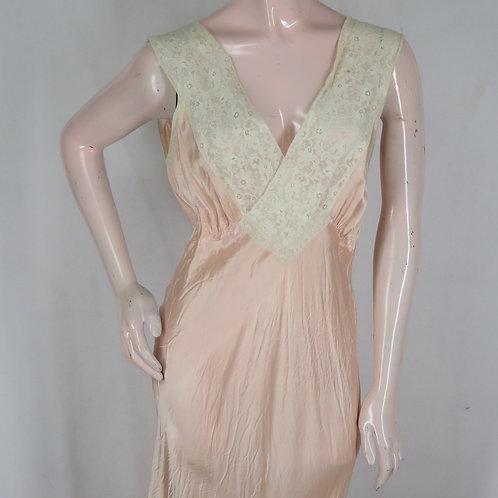 Vintage 30s peach satin bias cut nightgown