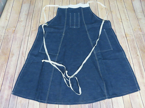 Blue denim full work apron with white straps and ties
