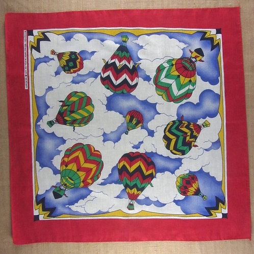 Vintage bandana features colorful hot air balloons surrounded with a red border