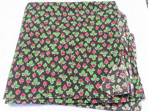 Vintage black plisse fabric with raspberry print