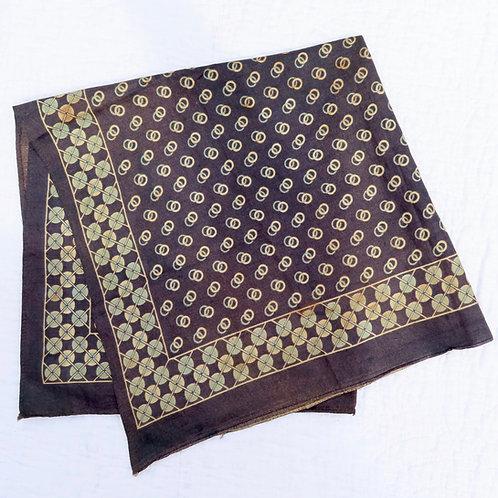 Antique dark blue, aqua and white print bandana handkerchief or scarf