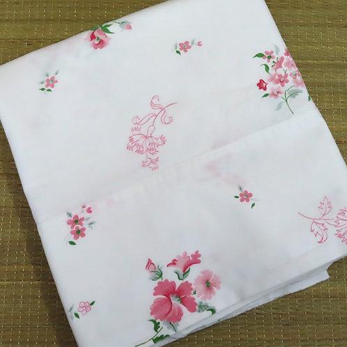 Vintage white cotton pillowcase with pink floral print