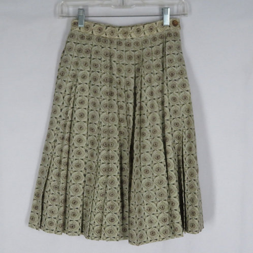 Vintage beige pleated foulard print skirt from the 1960s